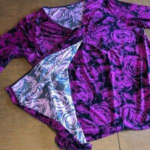Rafaella Tops - RAFAELLA - Purple and Black Stretch V-Neck Top 1X